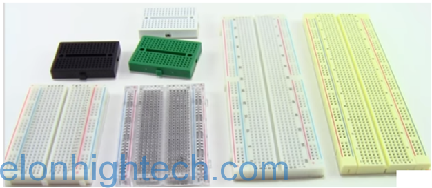 Different sizes and shapes of breadboards