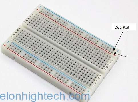 Figure 4: Dual rail breadboard