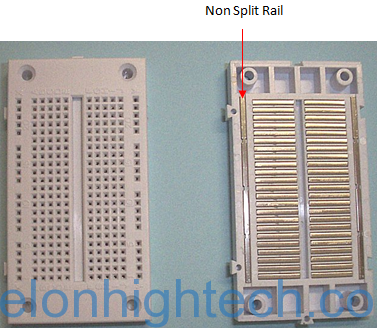 Non split rail breadboard