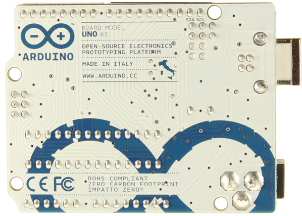 Arduino UNO back view