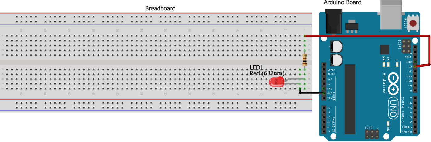 Arduino circuit connection on breadboard