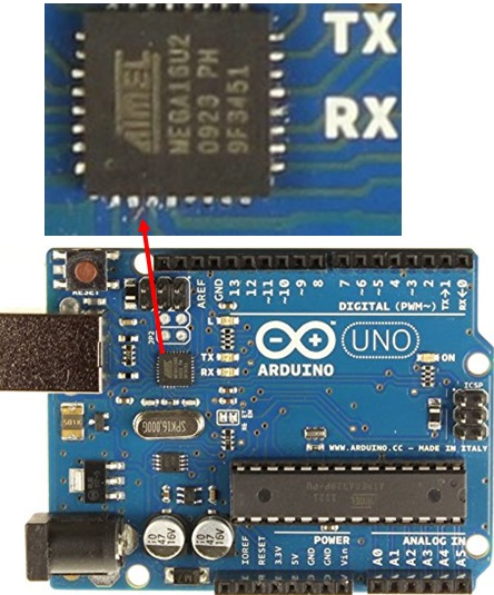 Arduino board showing the 16U2 USB-to-Serial chip