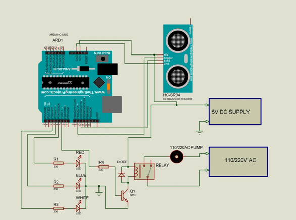 Circuit diagram of Arduino Water Level Indicator and Control using Ultrasonic Sensor HC-SR04R