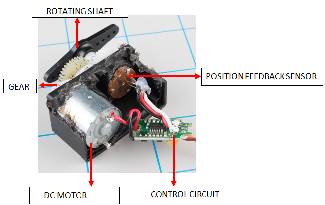 Real view of the internal parts of a typical DC servo motor
