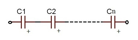 N number of capacitors connected in series