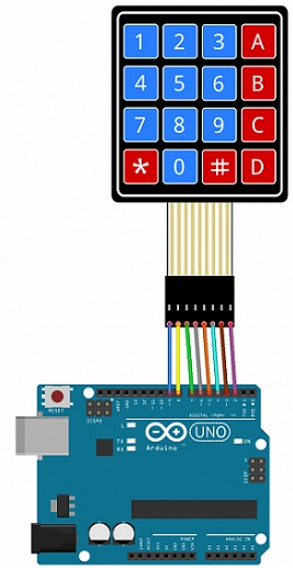 Arduino connection with 4X4 matrix