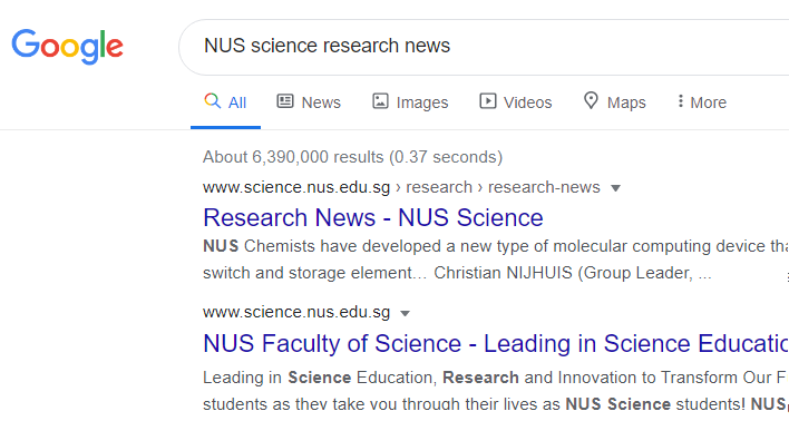 Search for NUS science research news