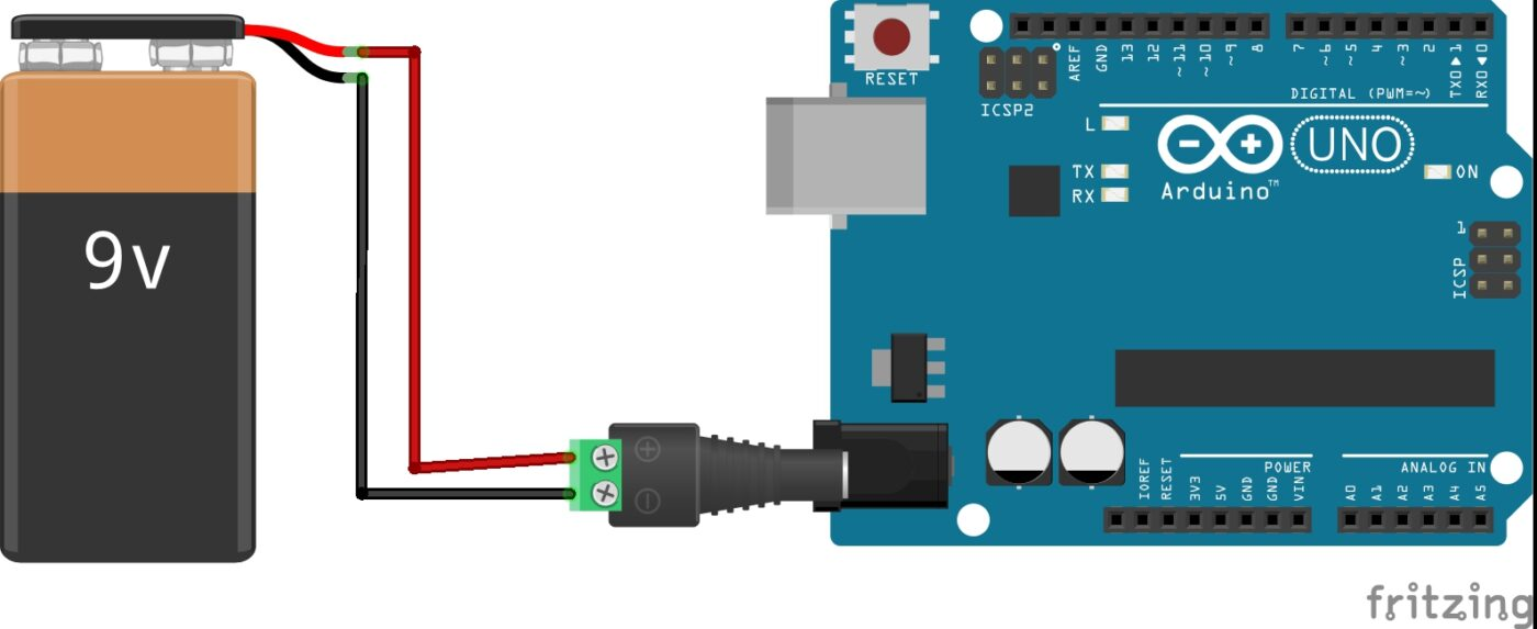 Arduino connected to a barrel jack barrel jack