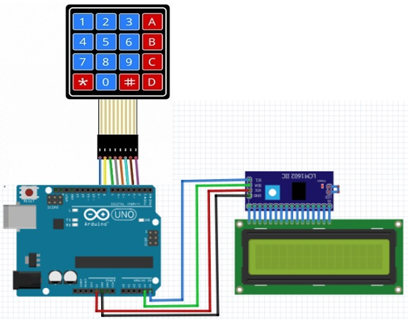 How to connect LCD with I2C, Matrix keypad and Arduino