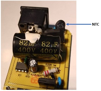 Figure 25 SMPS input stage circuitry showing an NTC