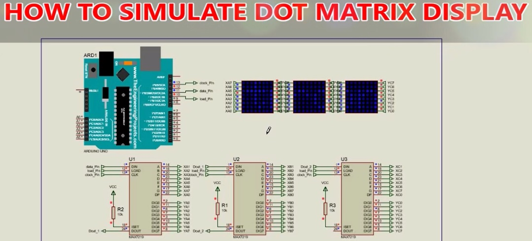How to simulate digital scrolling text display (DMD) in Proteus with MAX7219 and Arduino