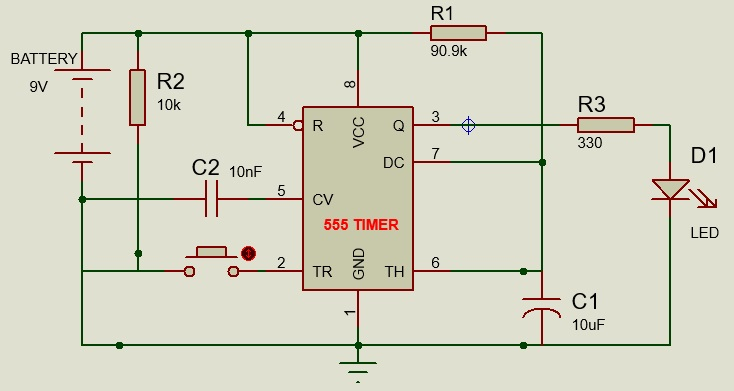 Monostable multivibrator with 555 timer IC