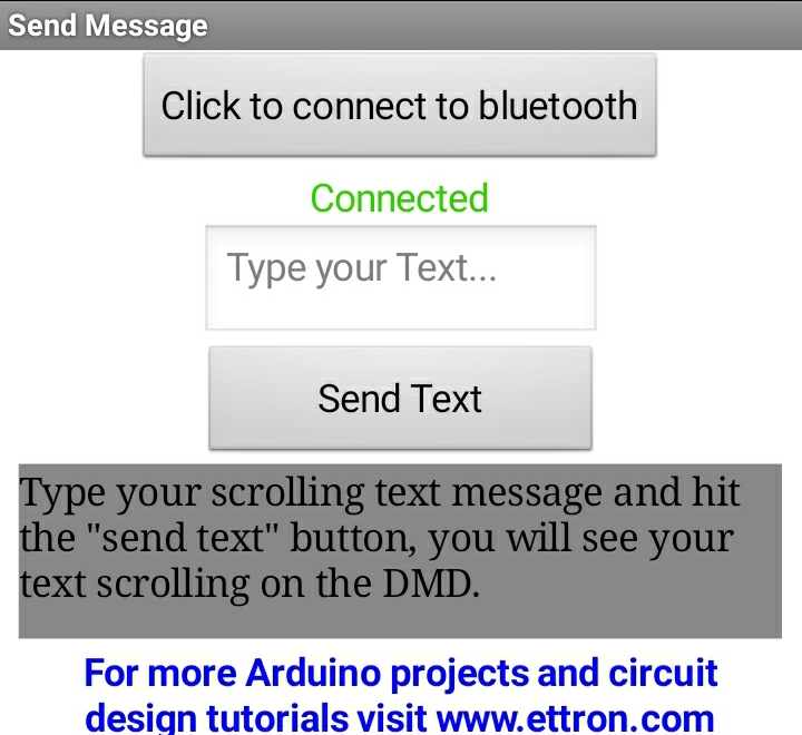 Android APP to controlling scrolling text display via bluetooth