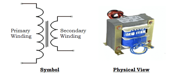 Symbol-and-Physical-View-of-Single-Phase-Step-Down-Transformer