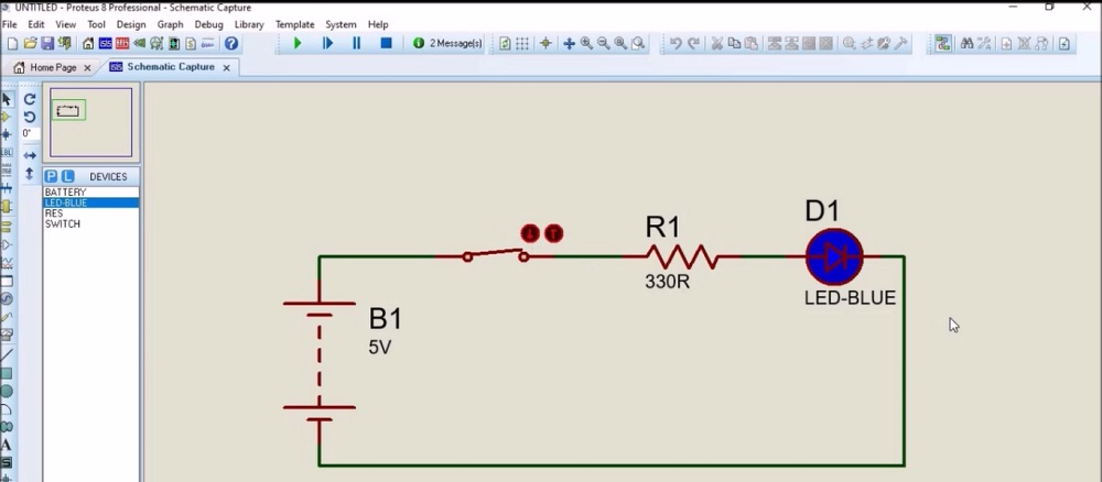 LED circuit in Proteus